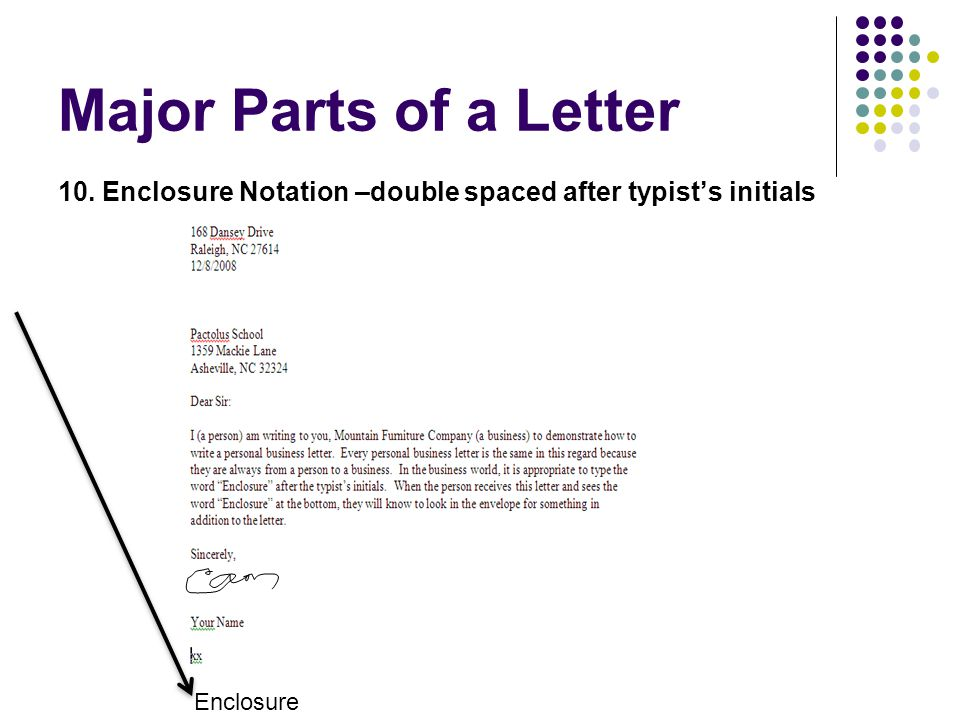 Major Parts of a Letter 10. Enclosure Notation –double spaced after typist's initials Enclosure