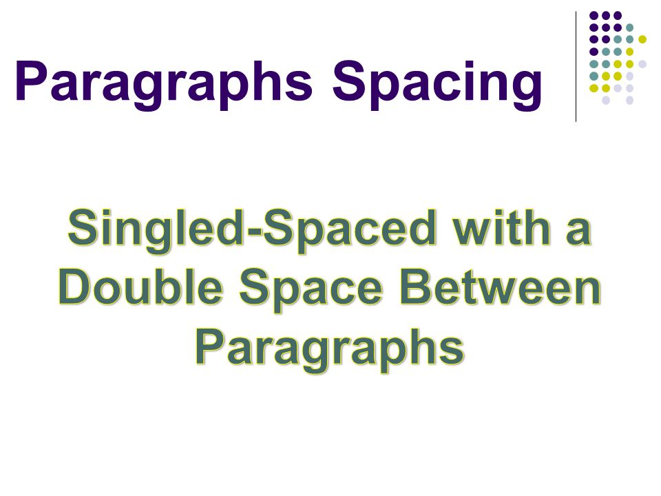 Singled-Spaced with a Double Space Between Paragraphs