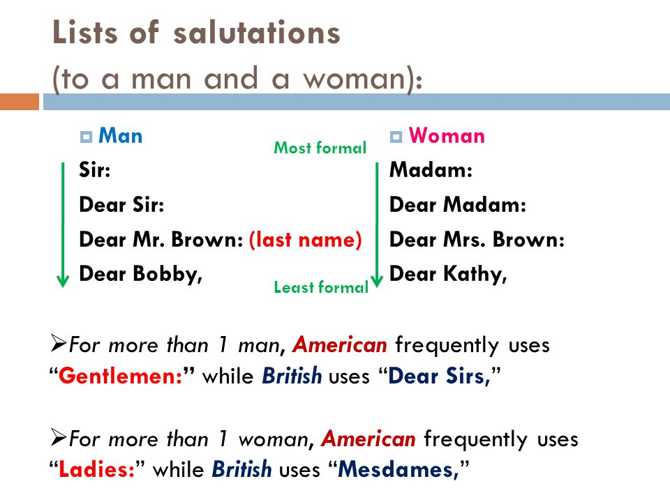 Lists of salutations (to a man and a woman):