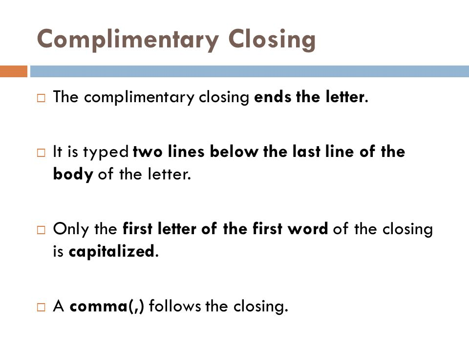 Complimentary Closing