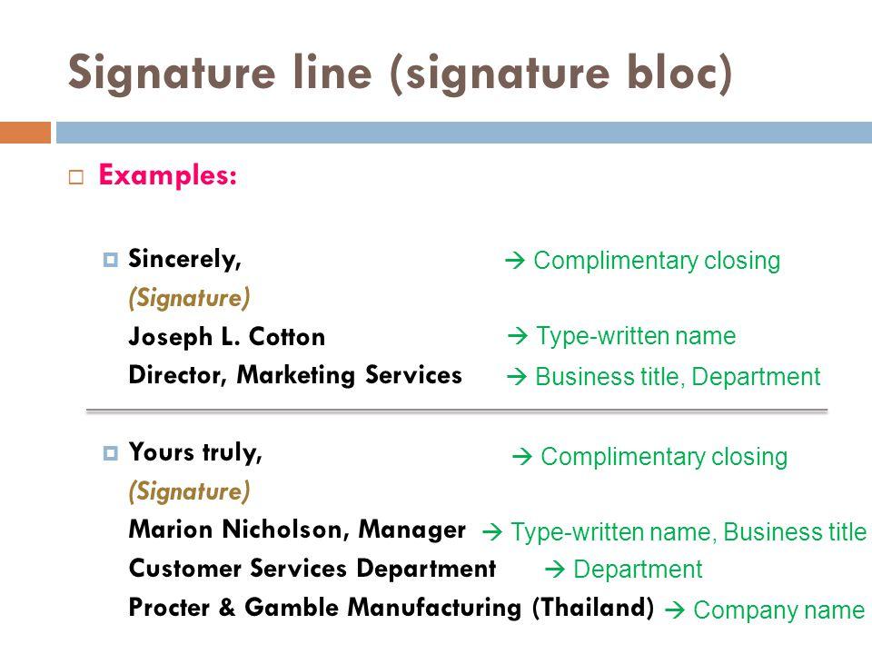 Signature line (signature bloc)