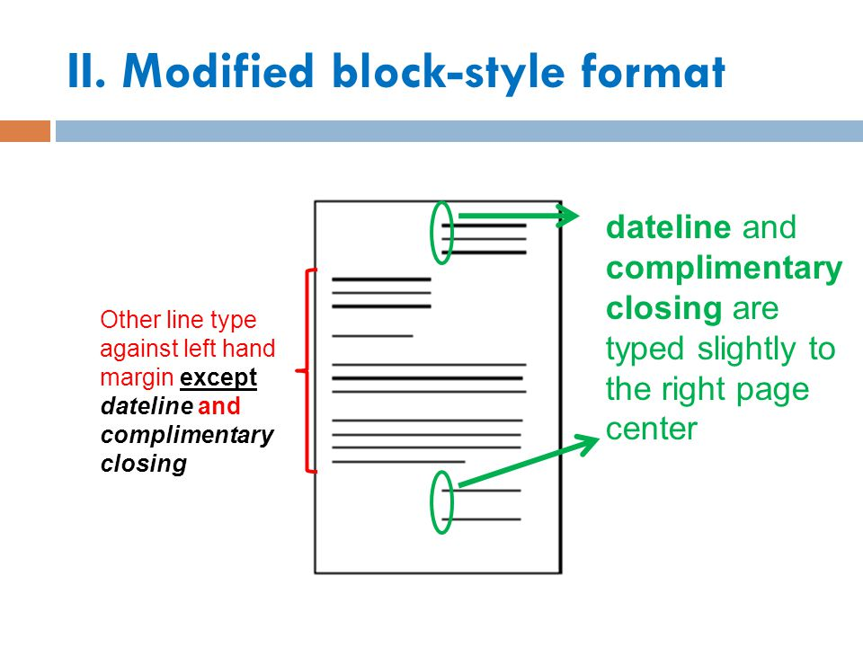 II. Modified block-style format