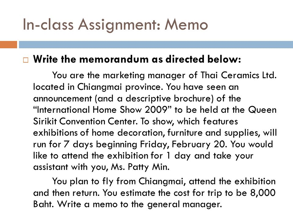 In-class Assignment: Memo