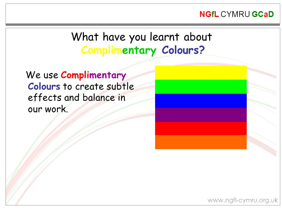 What have you learnt about Complimentary Colours