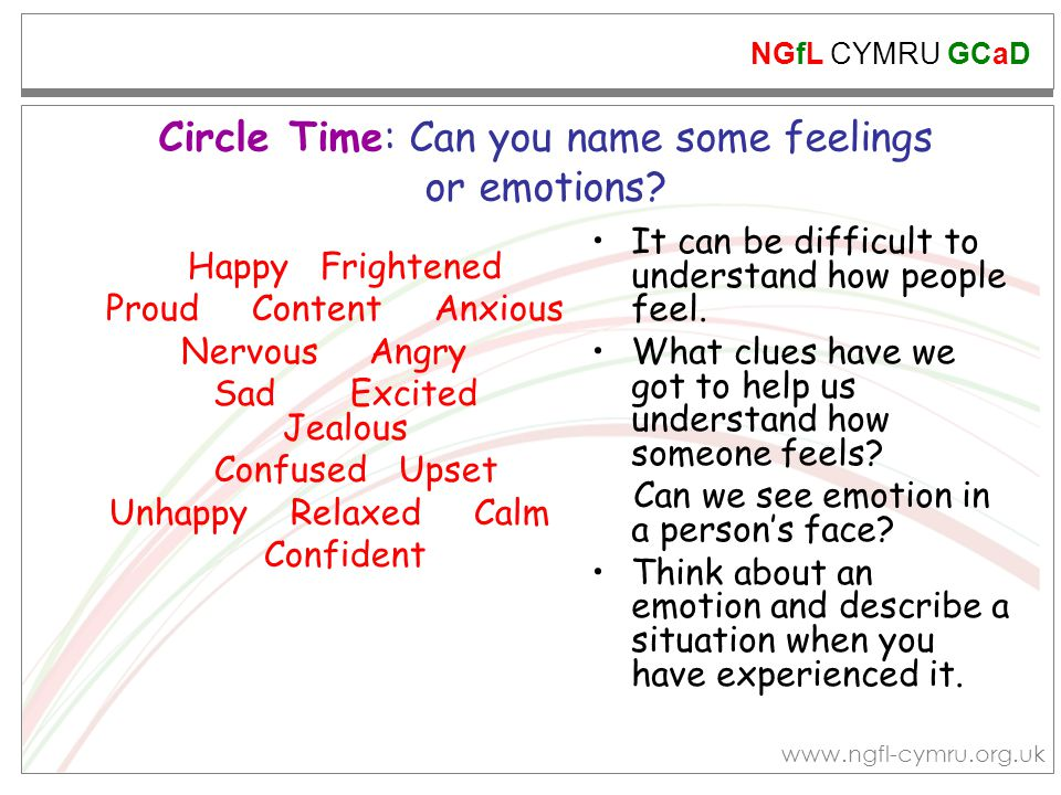 Circle Time: Can you name some feelings or emotions