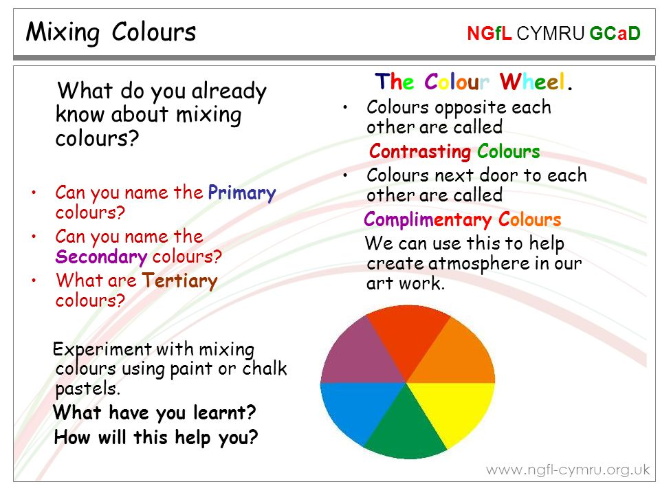 Mixing Colours What do you already know about mixing colours