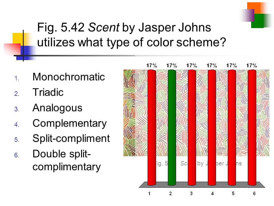 Fig. 5.42 Scent by Jasper Johns utilizes what type of color scheme