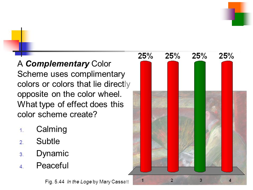 A Complementary Color Scheme uses complimentary colors or colors that lie directly opposite on the color wheel. What type of effect does this color scheme create