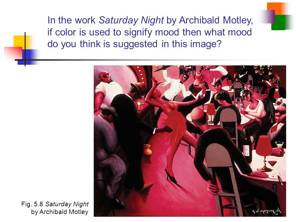 In the work Saturday Night by Archibald Motley, if color is used to signify mood then what mood do you think is suggested in this image