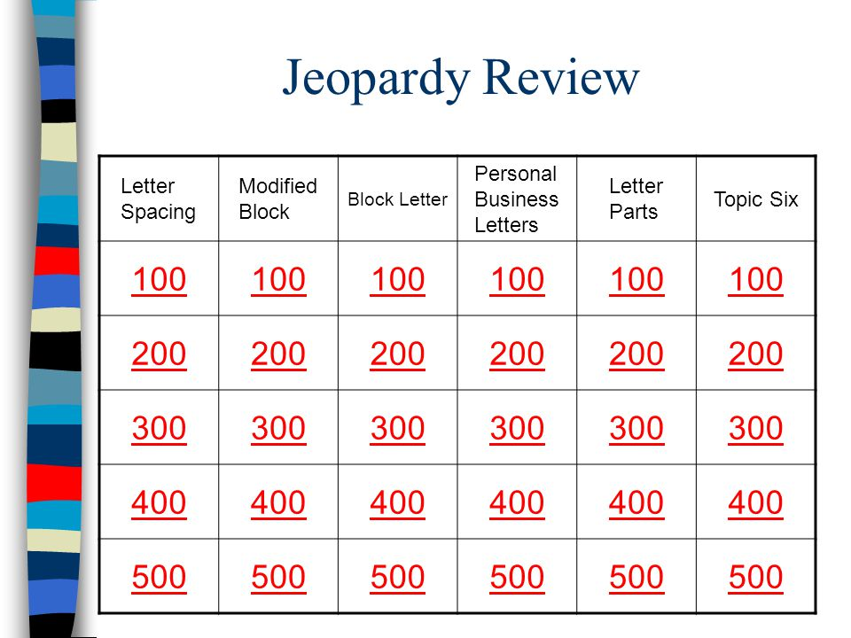 Jeopardy Review 100 200 300 400 500 Letter Spacing Modified Block