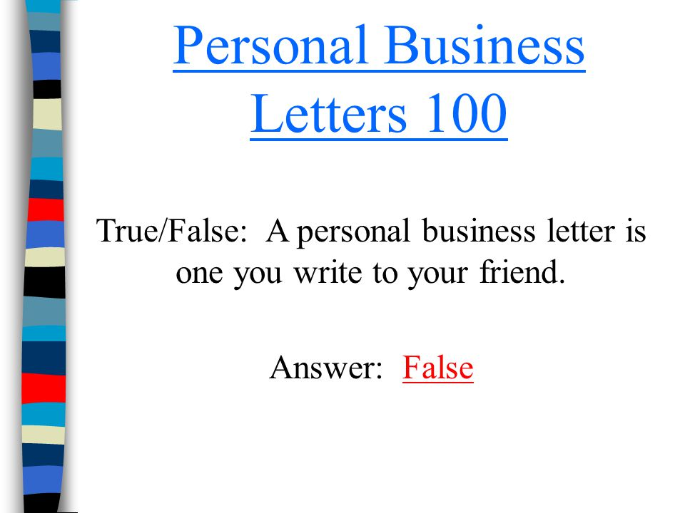 Personal Business Letters 100