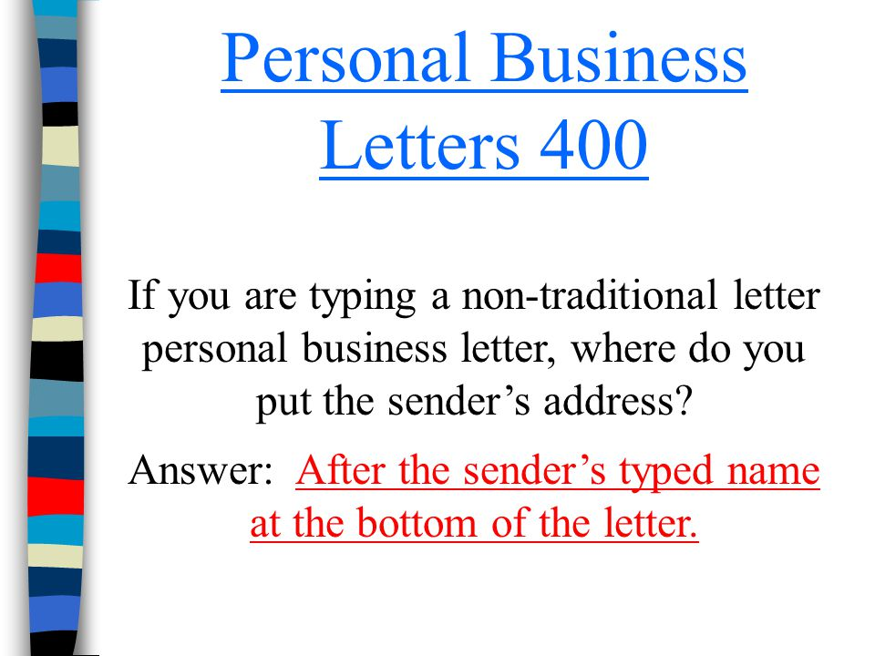 Personal Business Letters 400