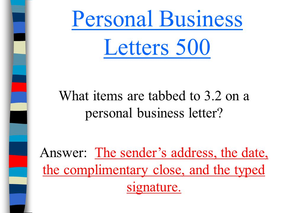 Personal Business Letters 500