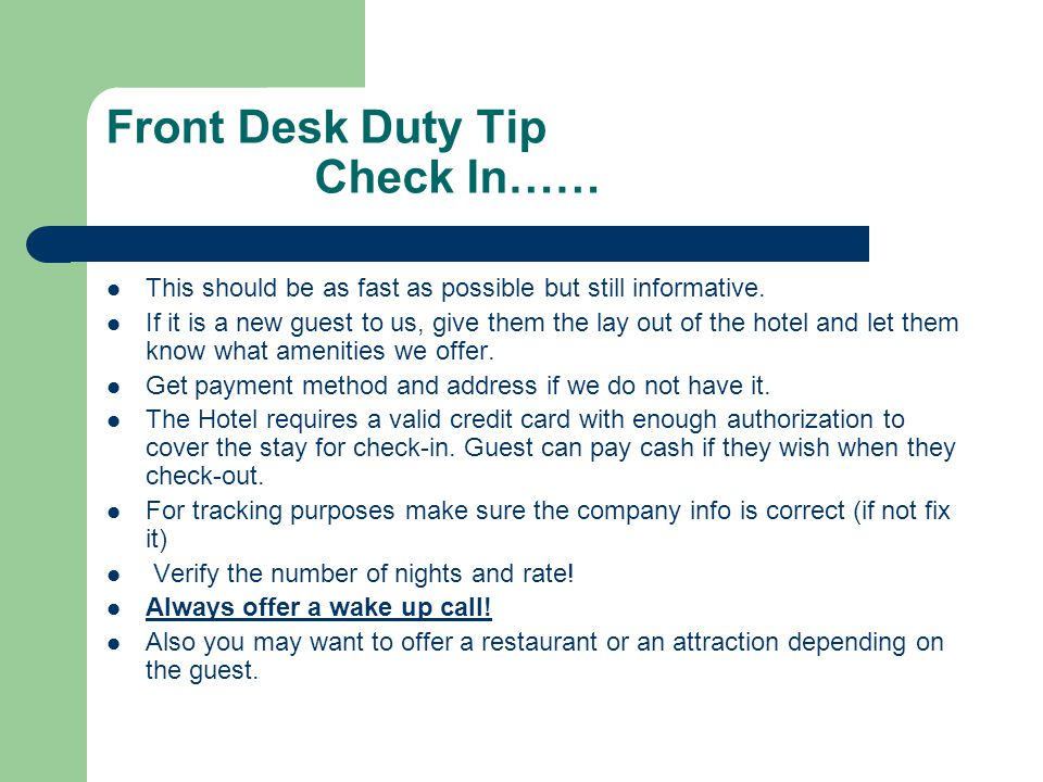 Front Desk Duty Tip Check In……