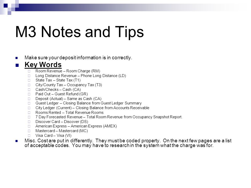 M3 Notes and Tips Key Words