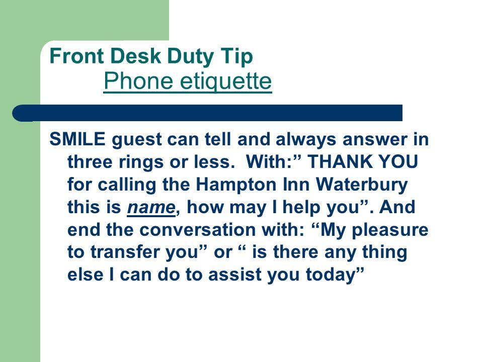Front Desk Duty Tip Phone etiquette