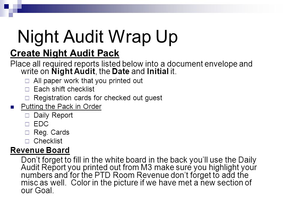 Night Audit Wrap Up Create Night Audit Pack