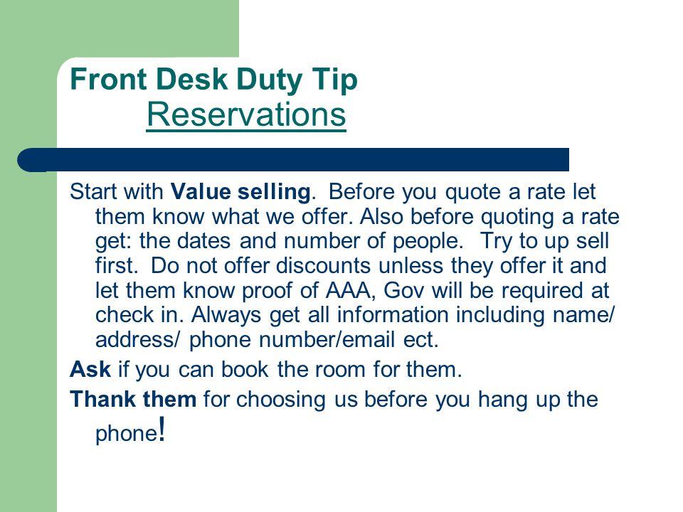 Front Desk Duty Tip Reservations