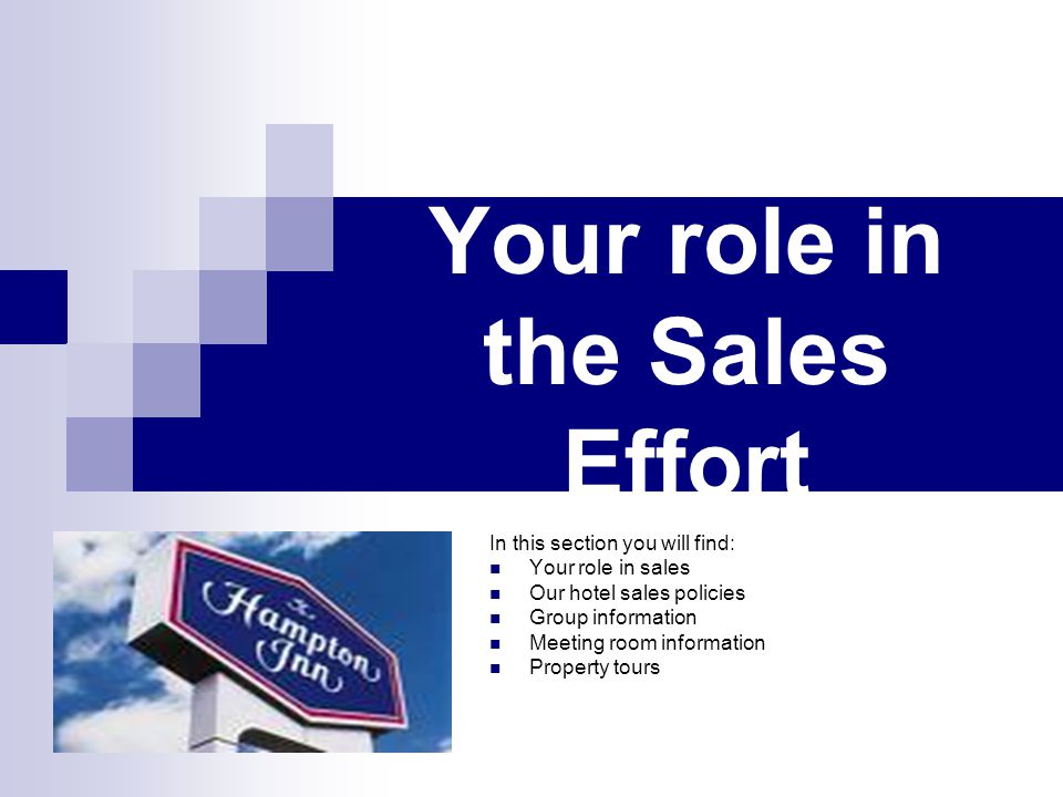 Your role in the Sales Effort