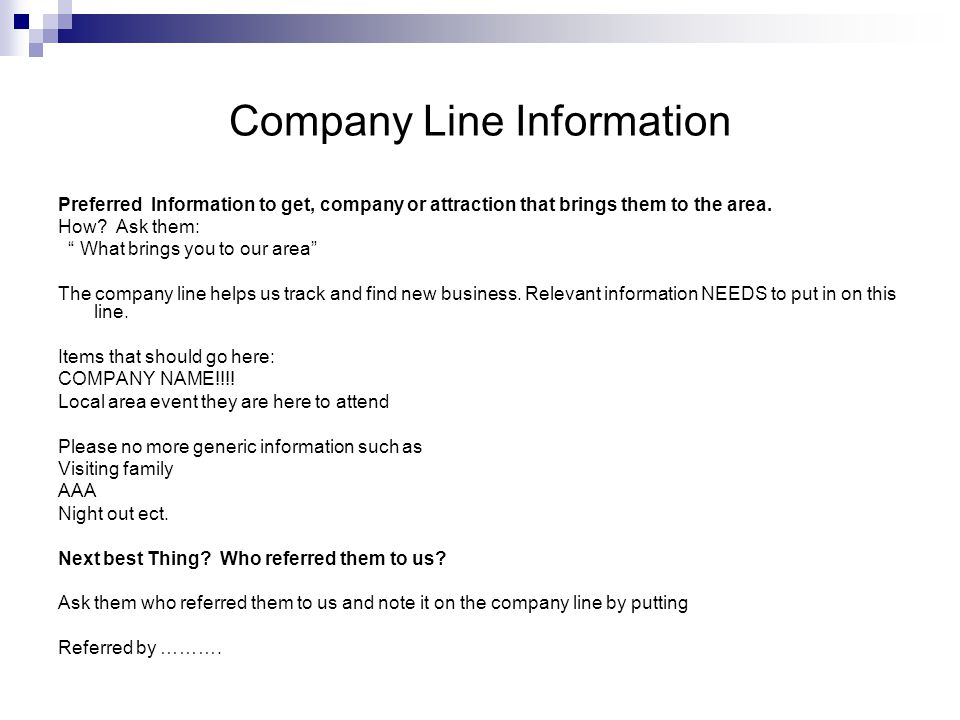 Company Line Information