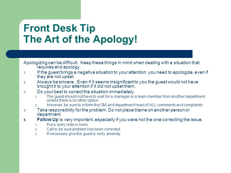Front Desk Tip The Art of the Apology!