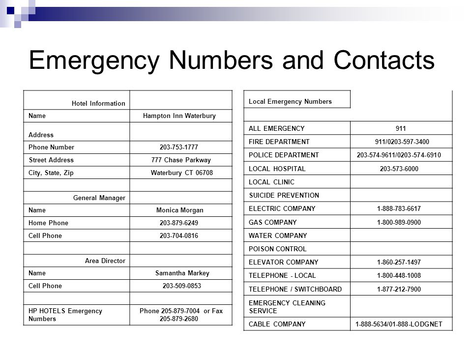 Emergency Numbers and Contacts