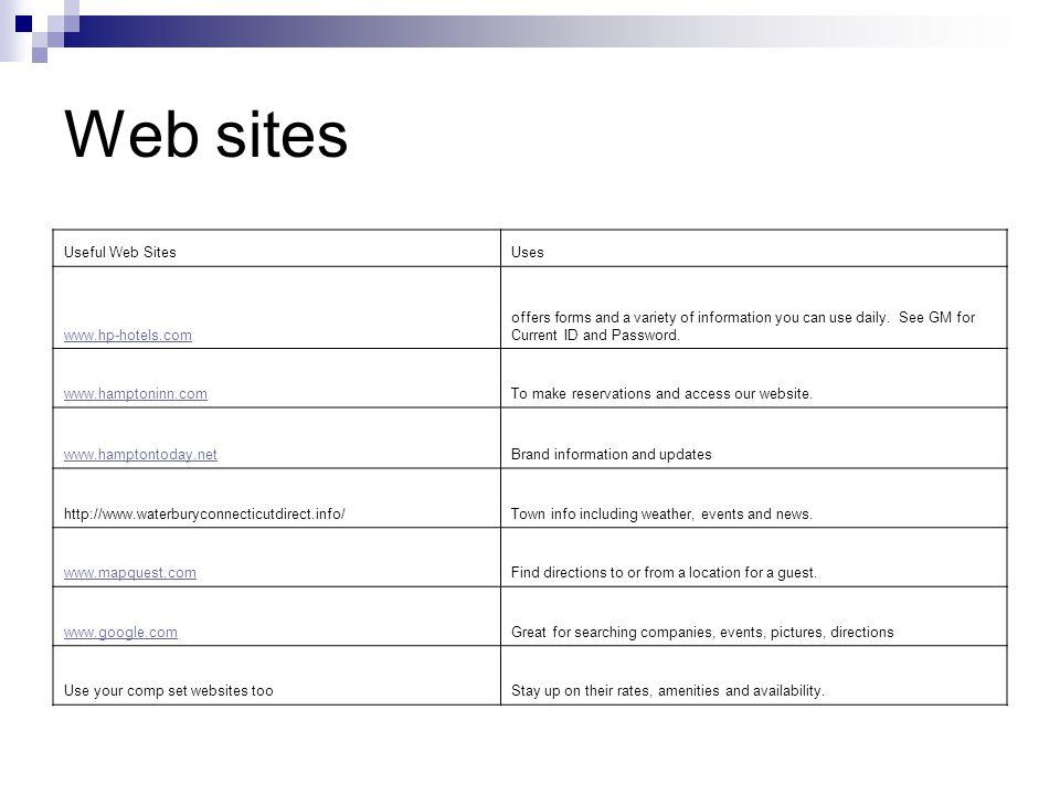 Web sites Useful Web Sites Uses www.hp-hotels.com