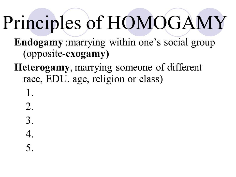 Principles of HOMOGAMY