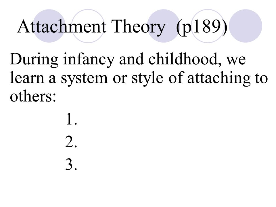 Attachment Theory (p189) During infancy and childhood, we learn a system or style of attaching to others: