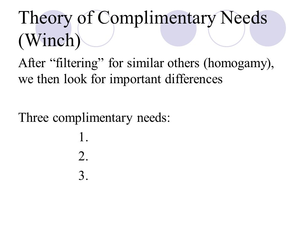 Theory of Complimentary Needs (Winch)