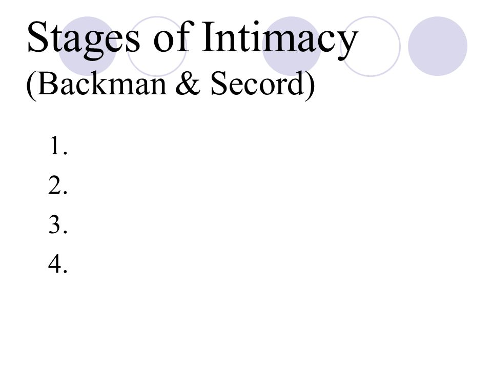 Stages of Intimacy (Backman & Secord)