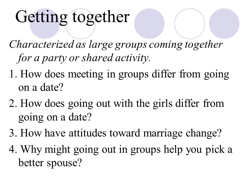 Getting together Characterized as large groups coming together for a party or shared activity.
