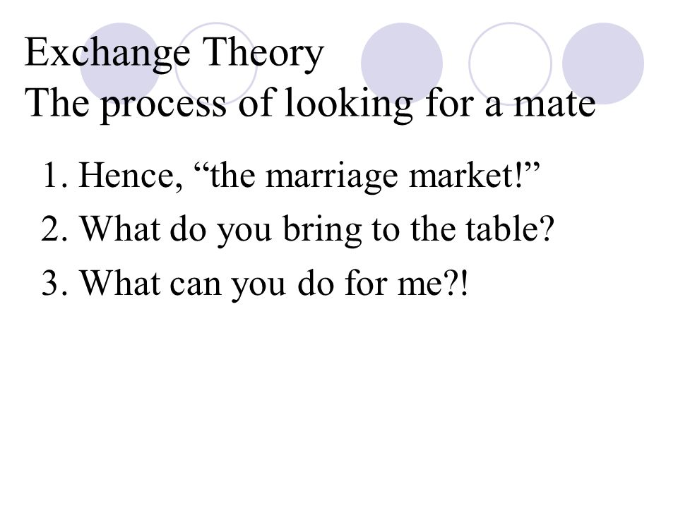 Exchange Theory The process of looking for a mate