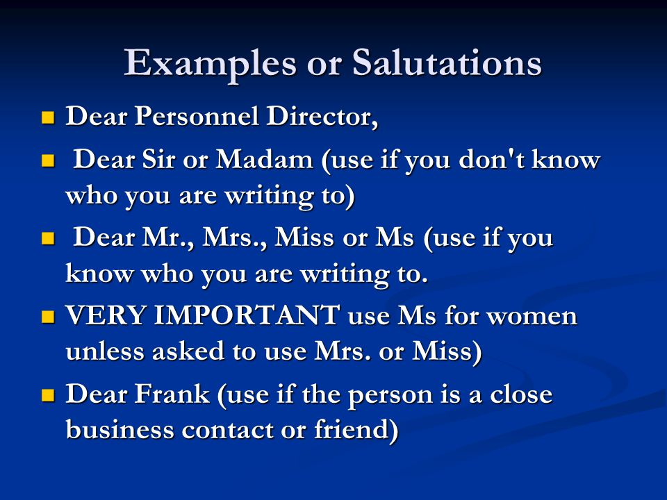 Examples or Salutations