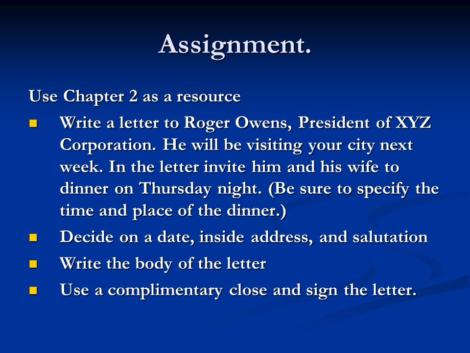 Assignment. Use Chapter 2 as a resource