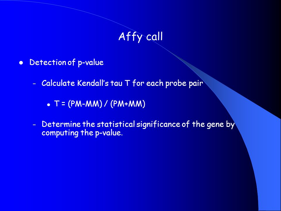 Affy call Detection of p-value