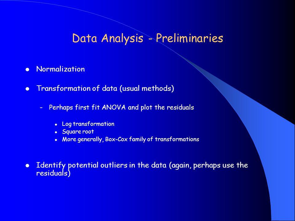 Data Analysis - Preliminaries