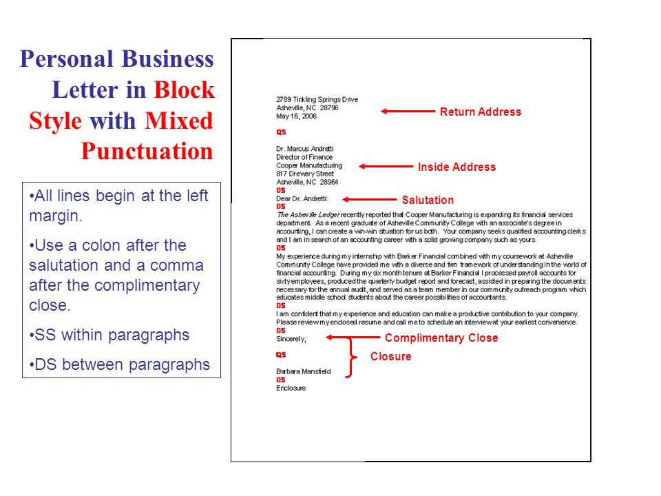 Personal Business Letter in Block Style with Mixed Punctuation