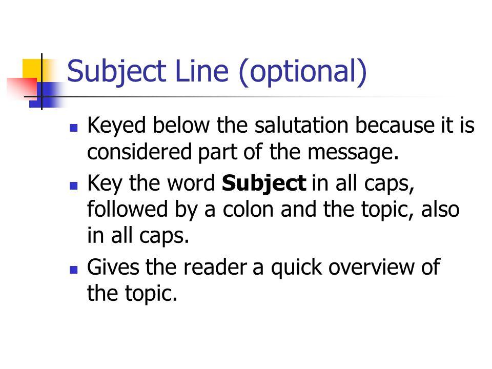 Subject Line (optional)