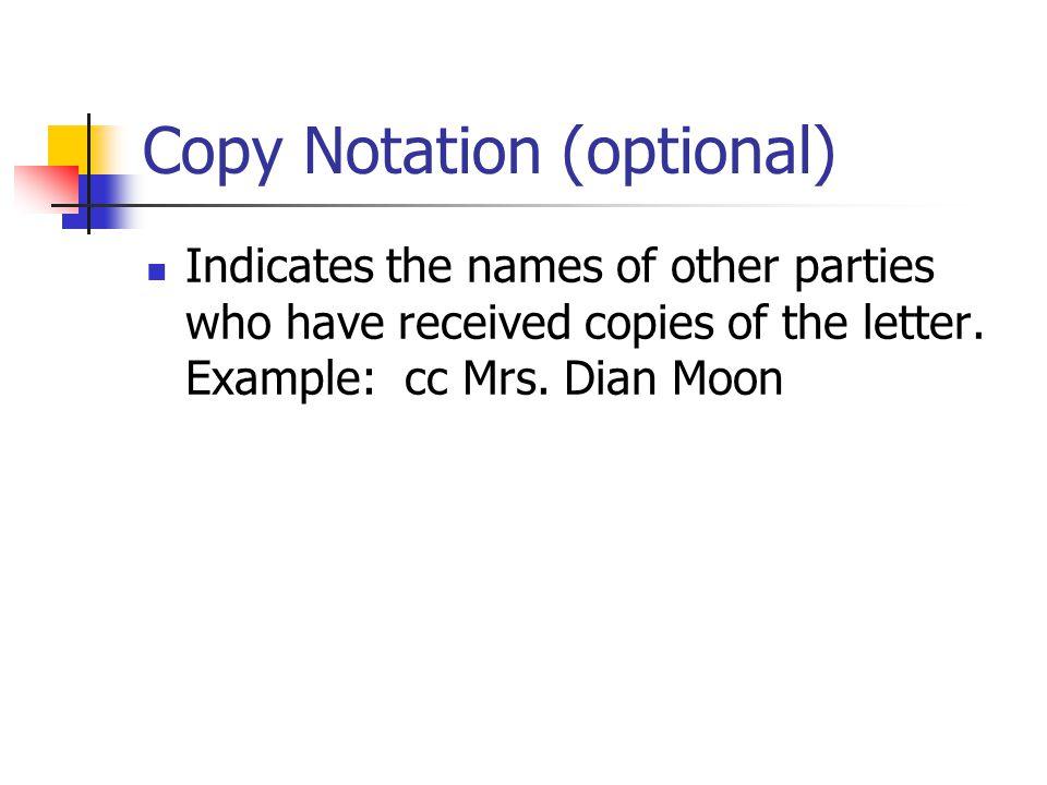 Copy Notation (optional)