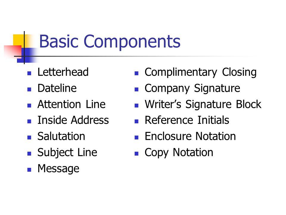 Basic Components Letterhead Dateline Attention Line Inside Address