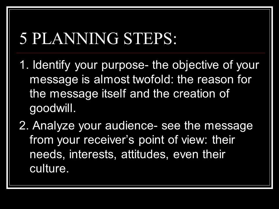 5 PLANNING STEPS: