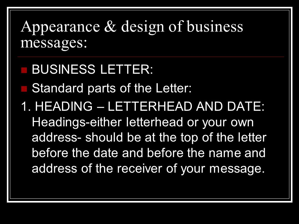Appearance & design of business messages: