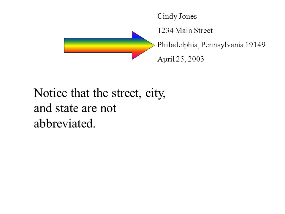 Notice that the street, city, and state are not abbreviated.