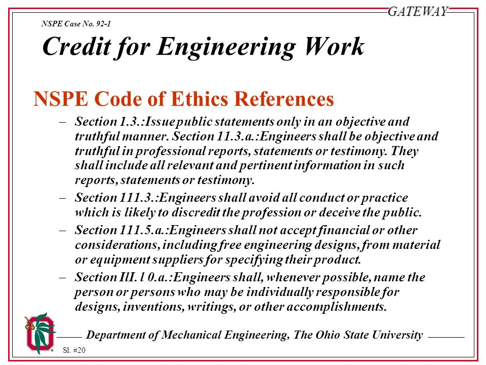 NSPE Case No. 92-1 Credit for Engineering Work