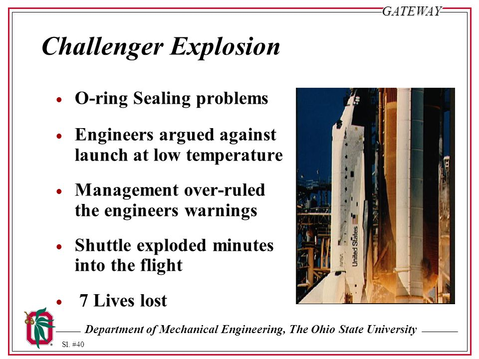 Challenger Explosion O-ring Sealing problems