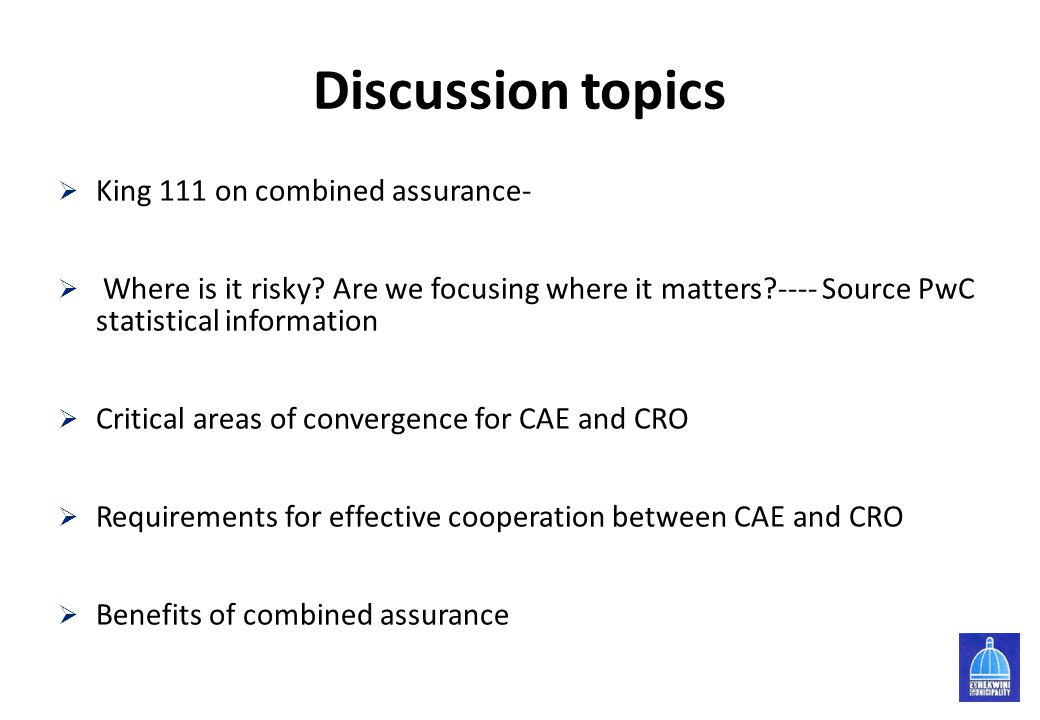 Discussion topics King 111 on combined assurance-