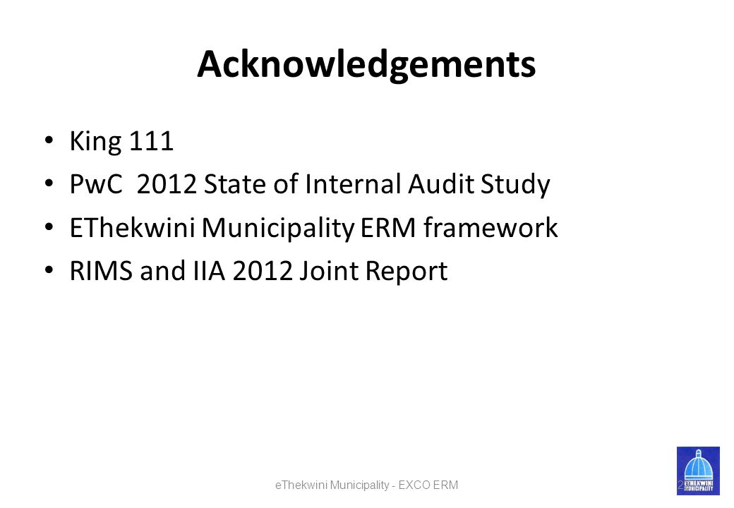 eThekwini Municipality - EXCO ERM