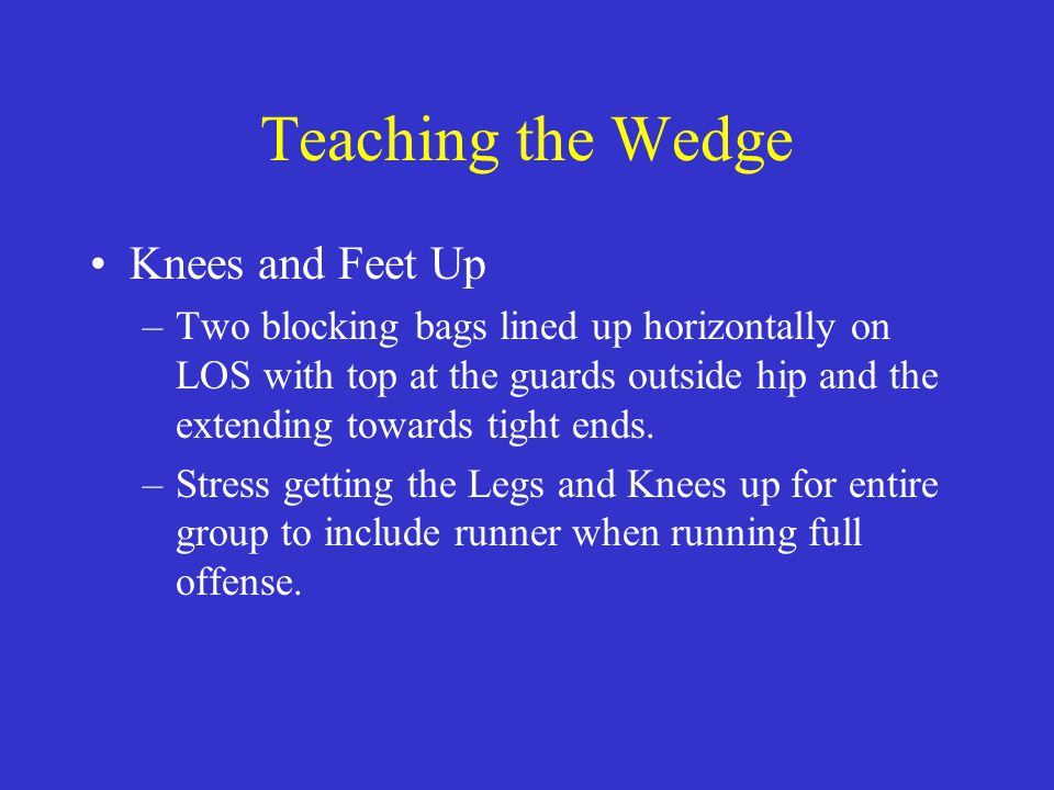 Teaching the Wedge Knees and Feet Up