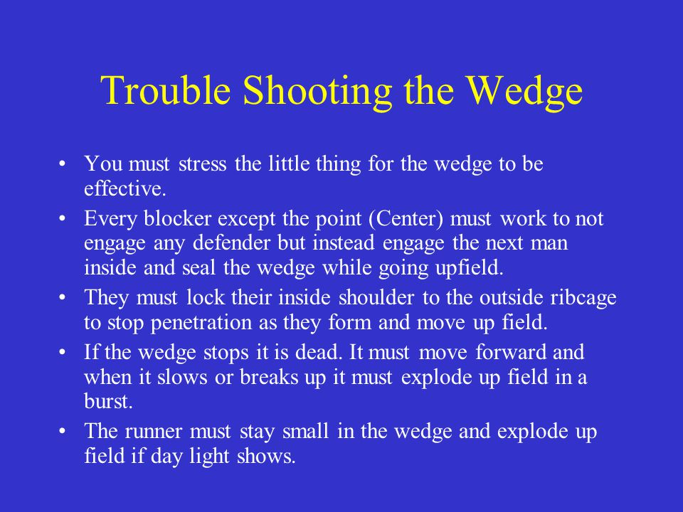 Trouble Shooting the Wedge
